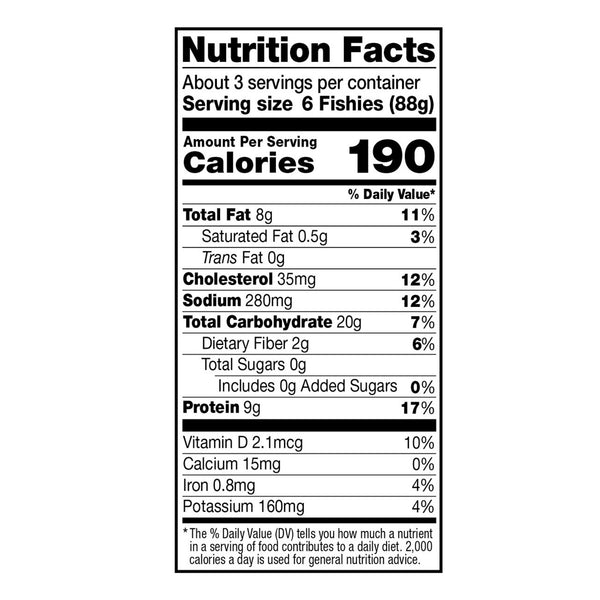 Dr. Praeger's Lightly Breaded Fishies Nutrition Facts Panel Image