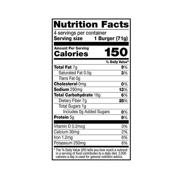 Dr. Praeger's Black Bean Quinoa Veggie Burgers Nutrition Facts Panel Image