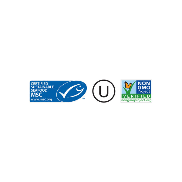 Dr. Praeger's Marine Stewardship Council Non-GMO Project Verified Kosher Certification Logos Image