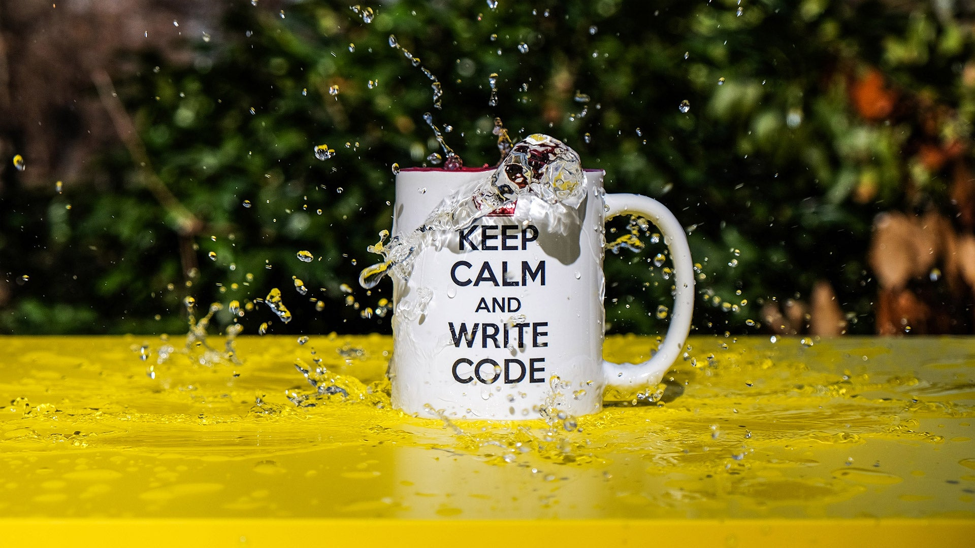 "White mug with a black ""Keep calm and write code"" text on it"