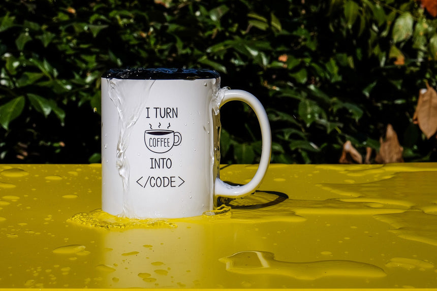 I turn coffee into code | Mug