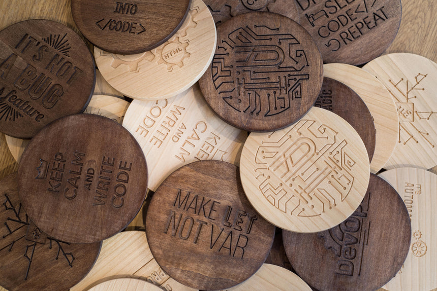 I turn coffee into code | Wooden coaster