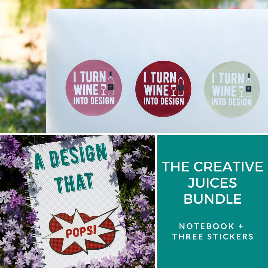 Creative Juices Bundle: Notebook and Three Stickers