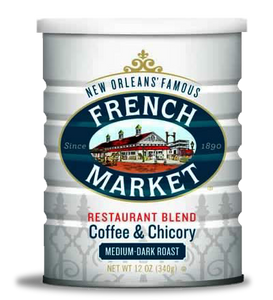 French Market Coffee-Restaurant Blend-Medium-Dark Roast with Chicory-Can