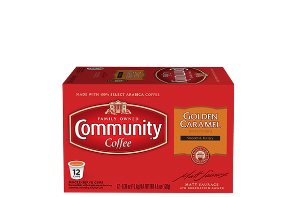 Community Coffee Golden Caramel Single Serve Cups - 12 Ct