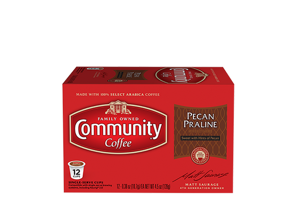 Community Coffee Pecan Praline Single Serve Cups - 12 Ct