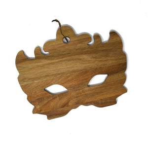 Acacia Wood Mardi Gras Mask Cutting and Serving Board