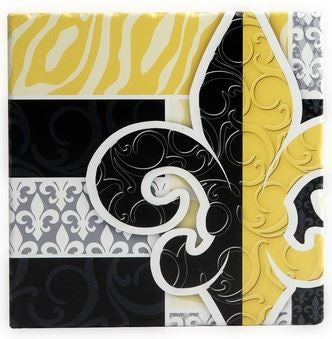Black and Gold Glass Fleur de Lis Trivet