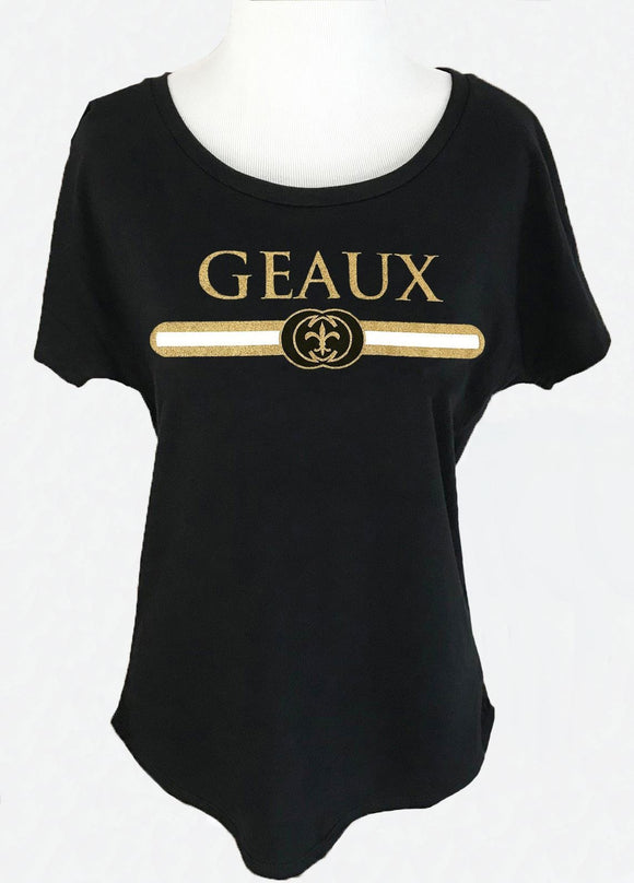 Geaux Black & Gold Dolman in Black