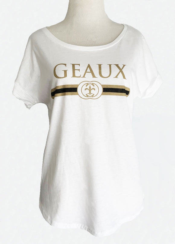 Geaux Black & Gold Dolman in White
