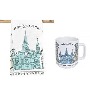 New Orleans Sketch Towel and Mug Gift Set