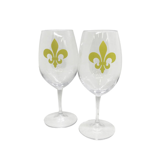 Gold Fleur-de-Lis Acrylic Wine Glasses - Set of 2