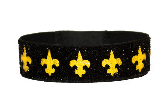 Black and Gold Glitter Fleur De Lis Hair Tie Bracelet