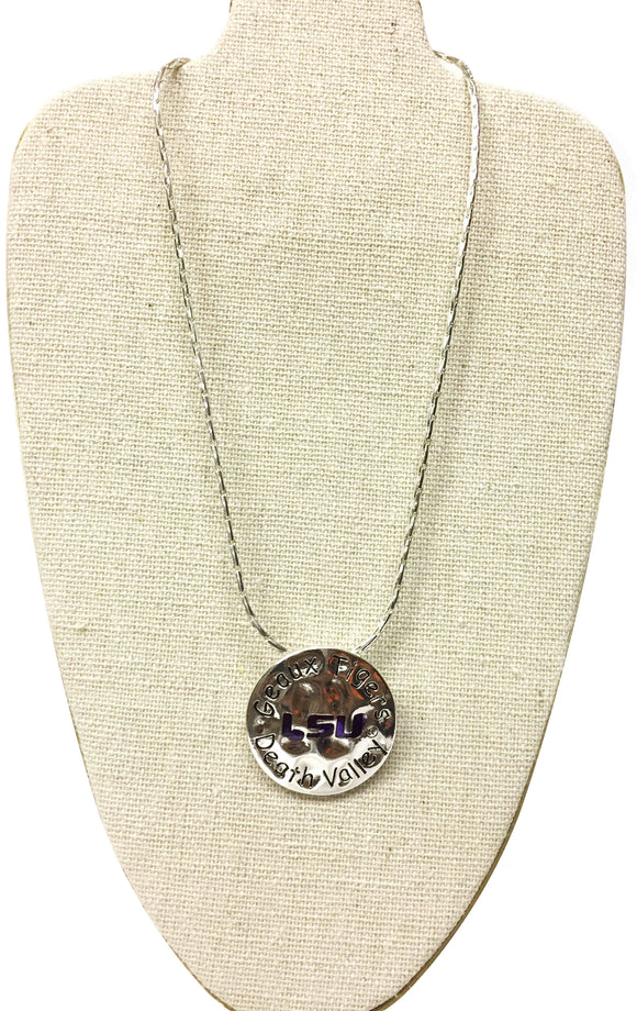 LSU Geaux Tigers Silver Necklace