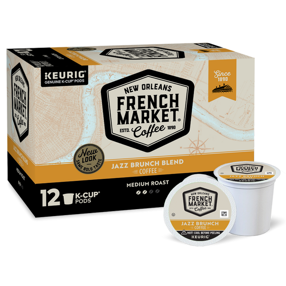 French Market Coffee Jazz Brunch Blend Single Serve Cups - 12 Ct