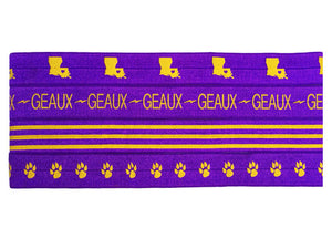 Purple and Gold Louisiana Football Headbands Hair Accessories