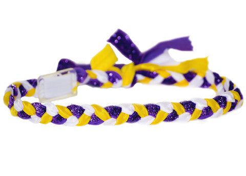 Purple Glitter, Yellow and White Braided Haylo