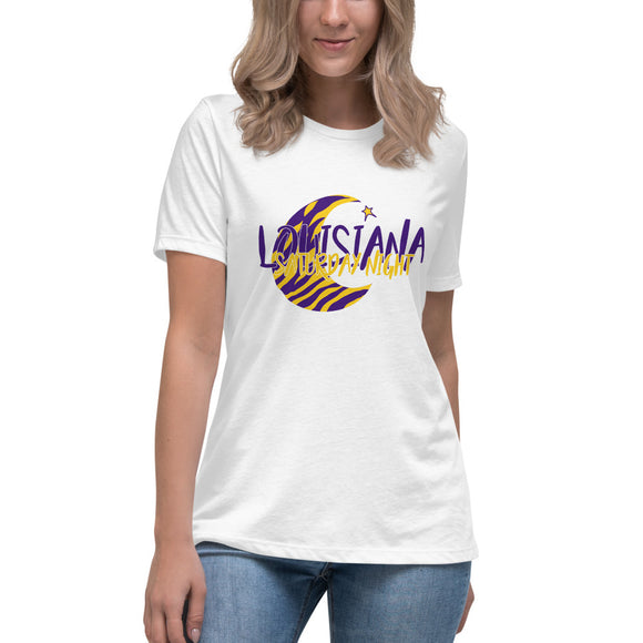 Louisiana Saturday Night Moon and Star- Ladies Relaxed Tshirt