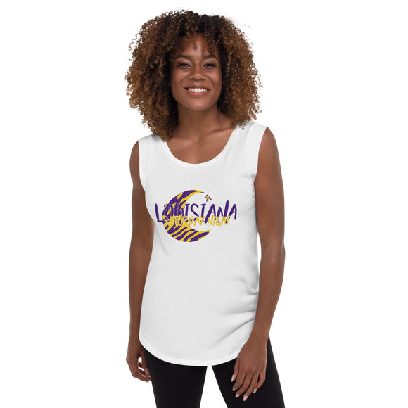 Louisiana Saturday Night Moon & Star- Ladies Cap Sleeve Tshirt