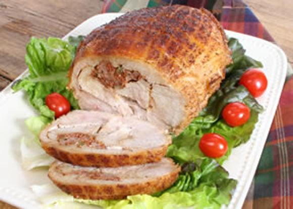 Turducken Roll with Jalapeno Cornbread Dressing