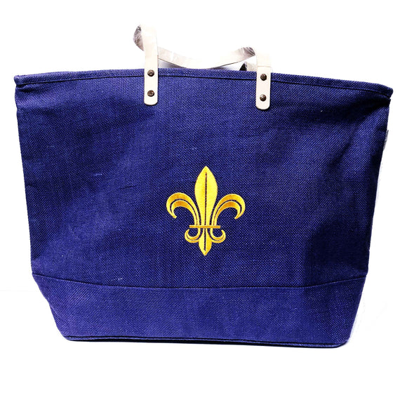 Purple and Gold Fleur de Lis Tote Bag
