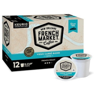 French Market Coffee Vieux Carrea Blend French Roast Single Serve Cups - 12 Ct