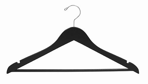 Petite Size Wooden Black Suit Hanger w/Bar