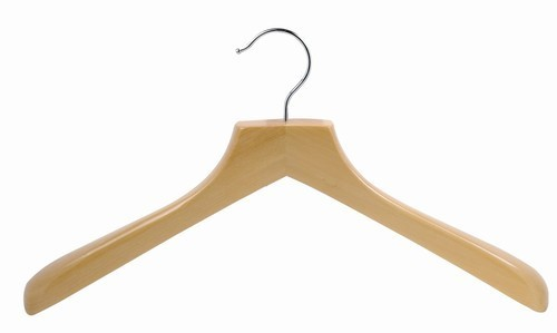 Contoured Deluxe Wooden Coat Hanger (Natural/Chrome)