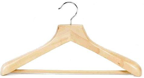 Contoured Deluxe Wooden Suit Hanger w/Non-Slip Bar (Natural)