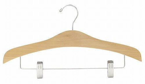 Decorative Wooden Suit Hanger w/Clips (Natural)
