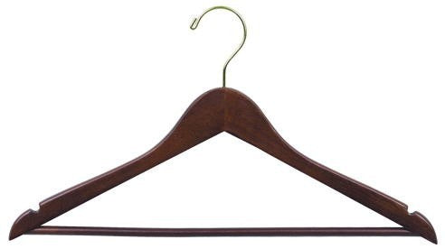 Flat Wooden Suit Hanger w/Bar (Walnut)