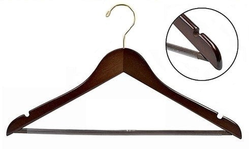 Flat Wooden Suit Hanger w/Non-Slip Bar (Walnut/Brass)