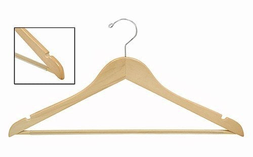 Flat Wooden Suit Hanger w/Non-Slip Bar;Natural Wood Suit Hangers w/Non-Slip Bars Hanging in Closet;Flat Wooden Suit Hangers with Shirts;Natural Wood Suit Hanger w/Non-Slip Bar and Notched Shoulders;Wooden Suit Hanger with polished chrome swivel hook