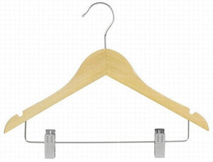 Juniors Wooden Suit Hanger w/Clips 14""
