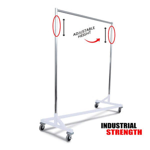 Only Hangers Industrial Strength Z Rack with Built-in Height Extensions - Decorative White Base
