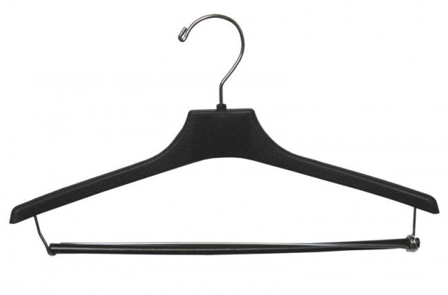 Petite Size Black Plastic Suit Hanger w/ Locking Bar - 15""
