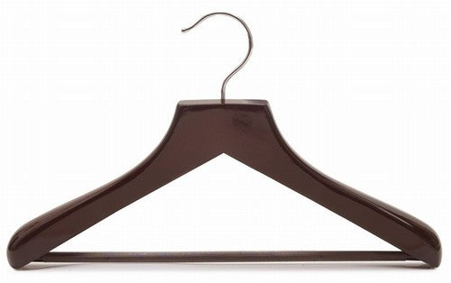 Petite Size Deluxe Wooden Suit Hanger (Walnut & Chrome)
