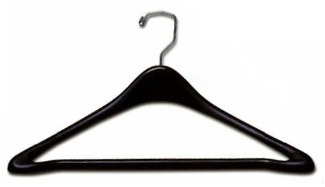 "Plastic Suit Hanger w/Bar 17"" - Black"