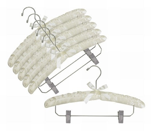 Satin Hangers w/Chrome Hook & Clips (Ivory)