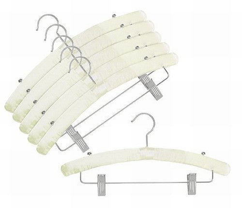 Satin Padded Hangers w/Clips (Ivory)