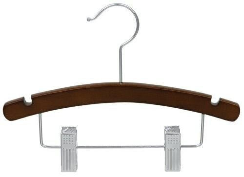 "Walnut & Chrome 12"" Children's Wooden Suit Hanger"
