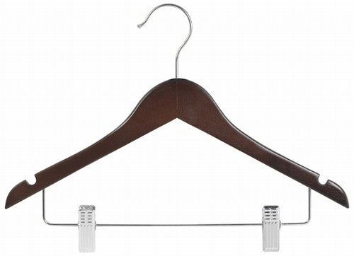 "Walnut & Chrome 14"" Juniors Wood Suit Hanger w/Clips"