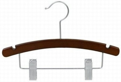 "Walnut & Chrome 14"" Juniors Wooden Suit Hanger"