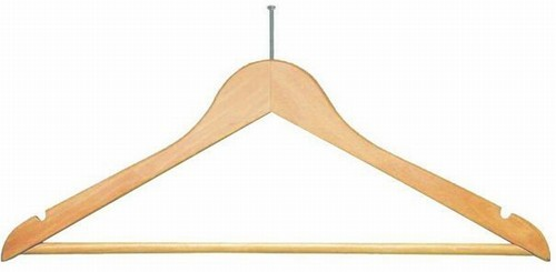Wooden Anti-Theft Hanger (Natural/Chrome)