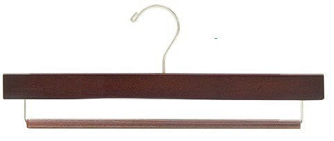 Wooden Pant Hanger w/Non-Slip Bar (Walnut/Chrome)