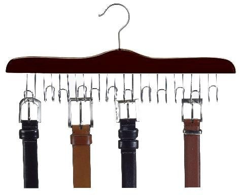 Wooden Specialty Belt Hanger - (Walnut & Chrome);Wooden Belt Hanger Hanging in Closet;Walnut and Chrome Wooden Belt Hanger Up Close Picture