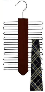 Wooden Vertical Tie Hanger - Walnut & Chrome