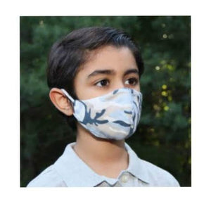 little boy wearing a kids camo face mask