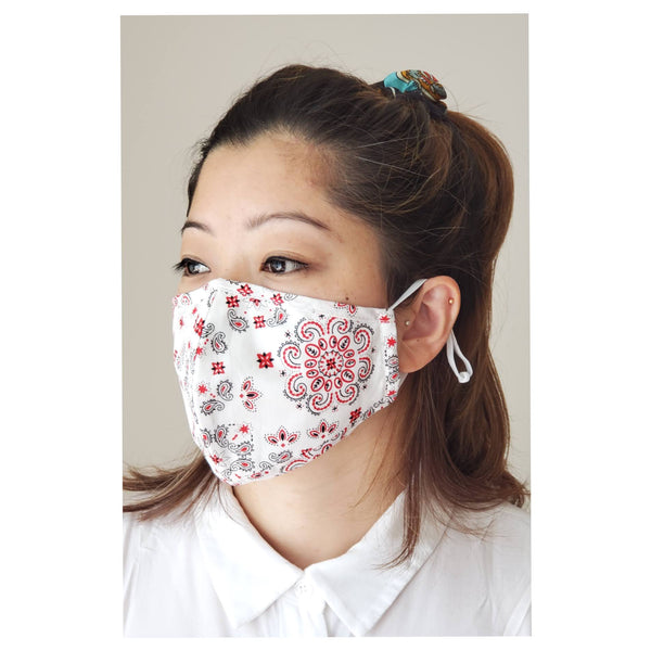 reusable and breathable white paisley bandana print face mask