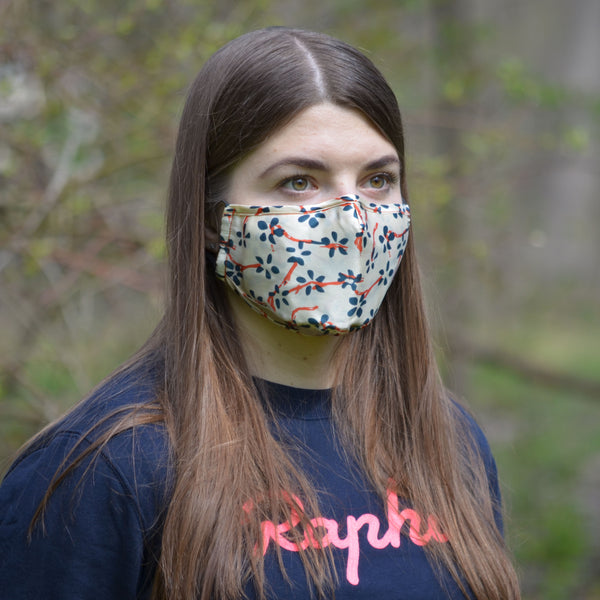 woman wearing floral face mask